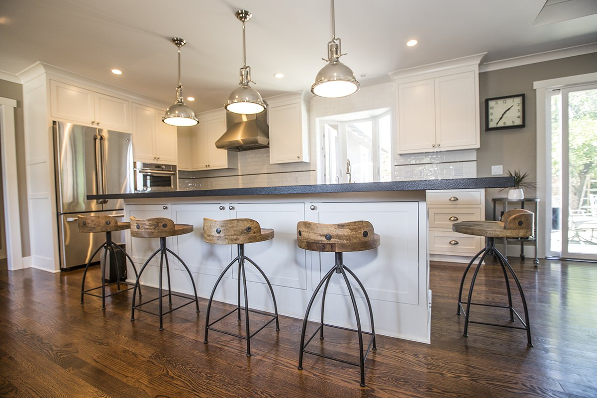 Cabrian Park - Mission City Construction kitchen island, custom lighting