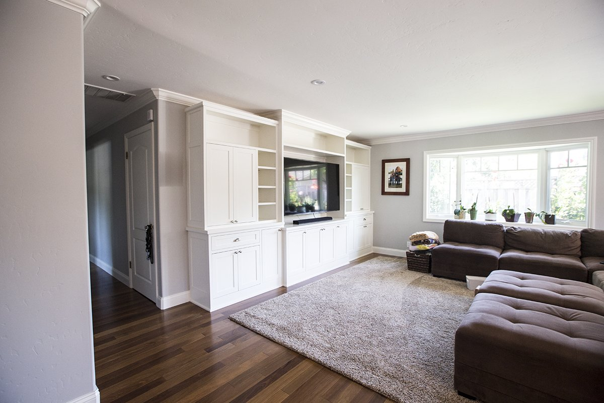 Remmington - Transformed living room remodel with custom cabinets