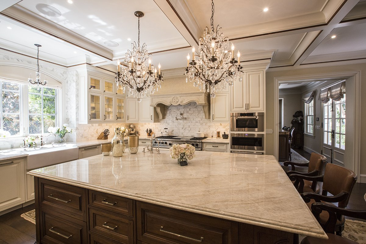 Atherton - by Mission City - palatial kitchen with chandelliers