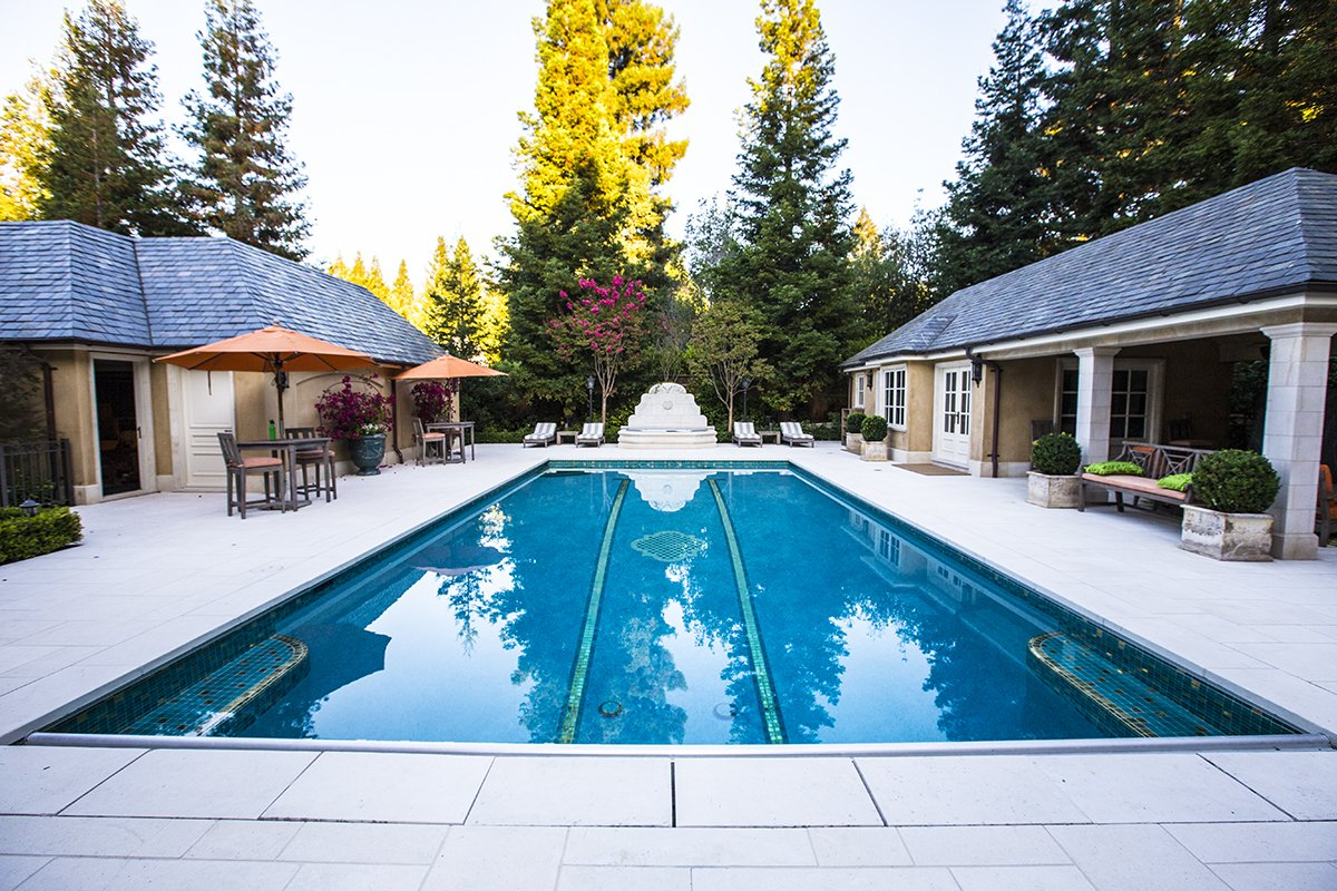 Atherton - by Mission City - large back yard pool, stone tiles, with guest and bathhouses