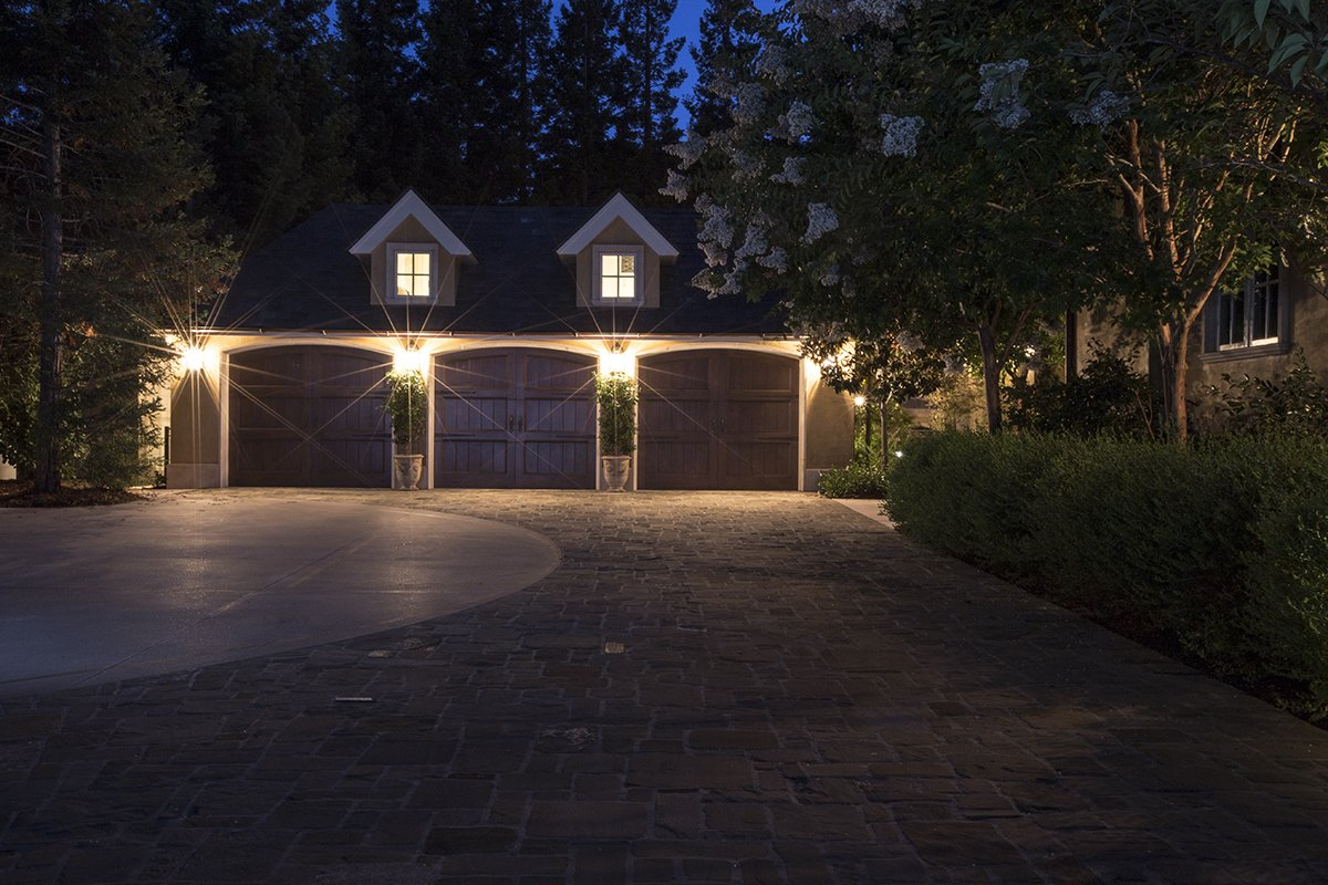 Atherton - by Mission City - three-door carriage house garage with old-fashioned doors