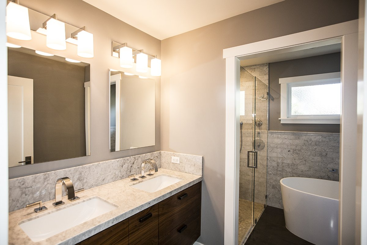 Cabrian Park - custom counter, lighting and fixtures - bathroom remodel