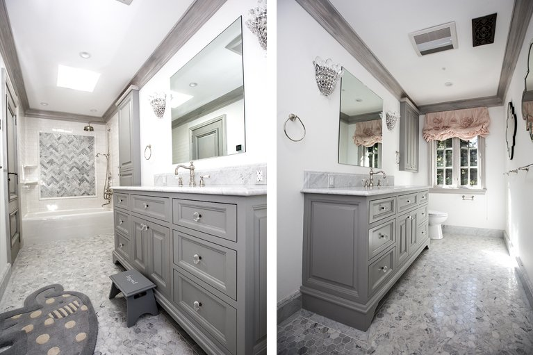 Atherton - by Mission City grey stone and tile bathroom remodel