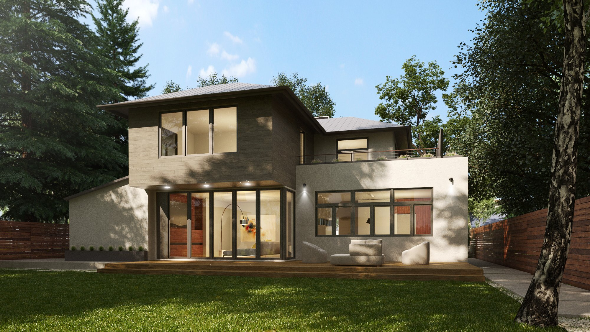 Two story CAD rendering of modern residential remodel